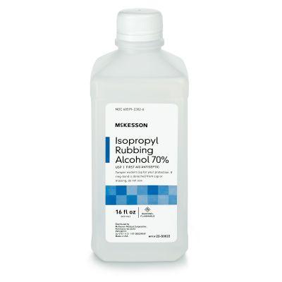 McKesson 23-D0022 Isopropyl Rubbing Alcohol 70%, Antiseptic Topical Liquid, 16 oz Bottle - 12 / Case