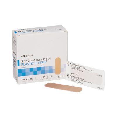 "McKesson 16-4821 Sheer Plastic Strip Adhesive Bandages, 1"" x 3"" Rectangle, Tan, Sterile - 2400 / Case"
