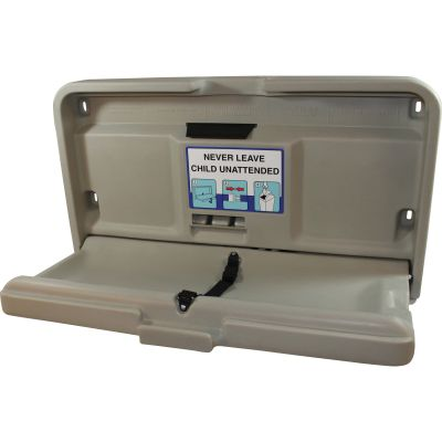 """Impact 1170 Baby Diaper Changing Table, Wall Mount, 20"""" x 35"""" x 4"""", Gray - 1 / Case"""