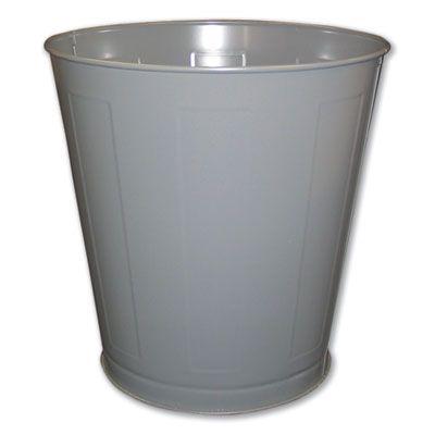 Impact 13023 Wastebasket, Round, Metal 28 Quart, Gray - 1 / Case