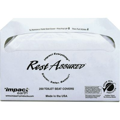 Impact 25130873 Rest Assured Toilet Seat Covers, Half Fold, White - 1000 / Case