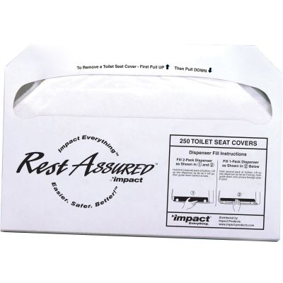 Impact 25183273 Rest Assured Toilet Seat Covers, Half Fold - 1000 / Case