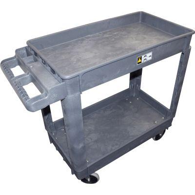 Impact 7002 Utility Cart with Wheels, 2 Shelves, Black - 1 / Case