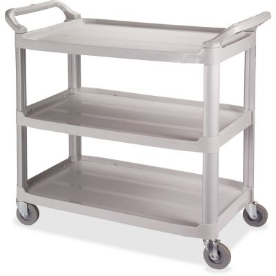 "Impact 7006 Bussing Cart with 3 Shelves, Casters, 20"" x 40"" x 38"", Gray - 1 / Case"