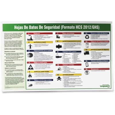 Impact 799073 Safety Data Sheet (SDS) Poster, Spanish - 1 / Case