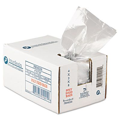 "Inteplast PB040208 Food Grade Plastic Bags, 0.68 Mil, 16 oz, 4"" x 2"" x 8"", Clear - 1000 / Case"