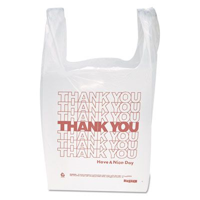 "Inteplast IBSTHW1VAL 'Thank You' Plastic T-Shirt Bag with Handles, 12.5 Mic, 11.5"" x 21"" x 6.5"", White - 900 / Case"