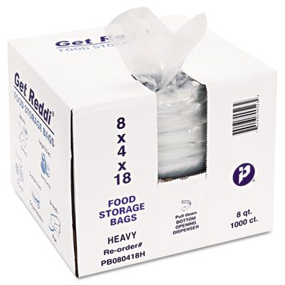 """Inteplast PB080418H Food Grade Plastic Bags, 1 Mil, 8 Quarts, 8"""" x 4"""" x 18"""", Clear - 1000 / Case"""
