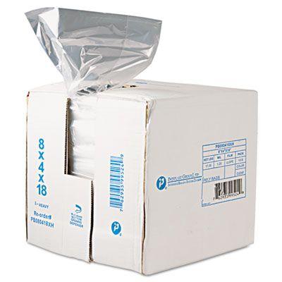 """Inteplast PB080418R Food Grade Plastic Bags, 0.68 Mil, 8 Quarts, 8"""" x 4"""" x 18"""", Clear - 1000 / Case"""