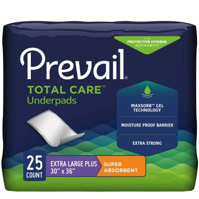 """First Quality UP-425 Prevail Total Care Underpads, 30"""" x 36"""", Disposable, Heavy Absorbency - 25 / Case"""