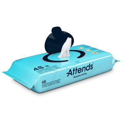 """Attends WCPP1000 Personal Washcloth Wipes, Premoistened, Aloe / Vitamin E, 9"""" x 13"""", Scented - 576 / Case"""