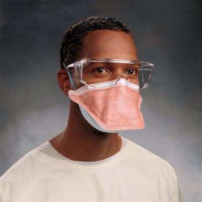 Halyard 46727 N95 Particulate Respirator / Surgical Mask, Flat Fold, Elastic Strap, Orange - 35 / Case
