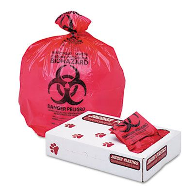 "Jaguar IW2432R 12-16 Gallon Healthcare Biohazard Bags, 1.3 Mil, 24"" x 32"", Red - 250 / Case"