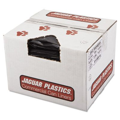 "Jaguar R4046HH 45 Gallon Garbage Bags / Trash Can Liners, 2 Mil, 40"" x 46"", Black - 100 / Case"