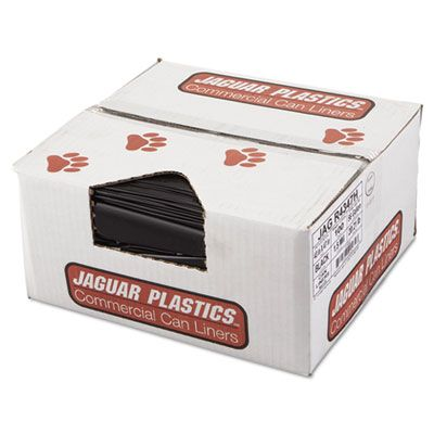 "Jaguar R4347H 56 Gallon Garbage Bags / Trash Can Liners, 1.5 Mil, 43"" x 47"", Black - 100 / Case"