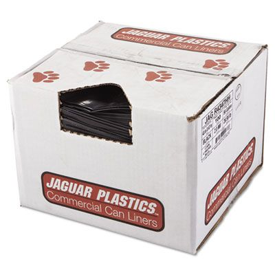 "Jaguar R4347HH 56 Gallon Garbage Bags / Trash Can Liners, 2 Mil, 43"" x 47"", Black - 100 / Case"