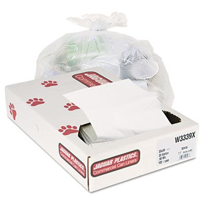 "Jaguar W3339X 33 Gallon Garbage Bags / Trash Can Liners, 0.9 Mil, 33"" x 39"", White - 100 / Case"