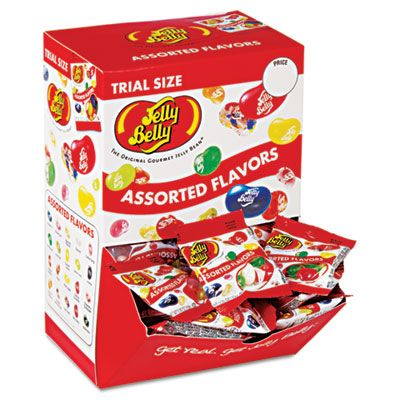 Jelly Belly 72512 Jelly Beans, Assorted Flavors, Trial Size 0.35 oz Bag - 80 / Case