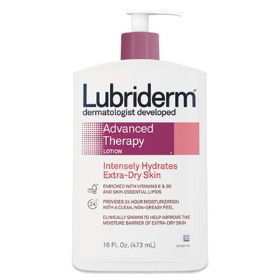 Johnson & Johnson 48322 Lubriderm Advanced Therapy Lotion, Intensely Hydrates Extra-Dry Skin, 16 oz Pump Bottle - 12 / Case