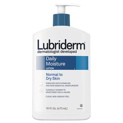 Johnson & Johnson 48323 Lubriderm Daily Moisture Lotion, Normal to Dry Skin, 16 oz Pump Bottle - 12 / Case
