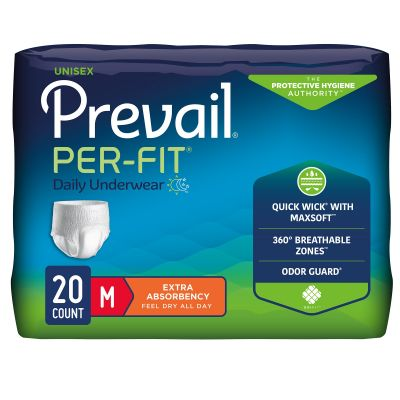 """First Quality PF-512 Prevail Per-Fit Daily Absorbent Underwear, Adult Unisex, Medium (34 to 46""""), Heavy Absorbency - 20 / Case"""