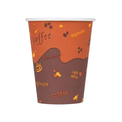 Karat C-K508W 8 oz Paper Hot Cups, Coffee Design - 1000 / Case