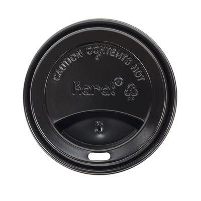Karat C-KDL516B-99 Sipper Dome Lid for 10-24 oz Paper Hot Cups, Polypropylene, Black - 1000 / Case