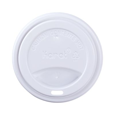 Karat C-KDL516W-PP Sipper Dome Lid for 10-24 oz Paper Hot Cups, Polypropylene, White - 1000 / Case