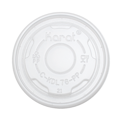 Karat C-KDL76-PP Plastic Flat Lids for 4 oz Paper Food Containers, Round, Vented, Polypropylene - 1000 / Case