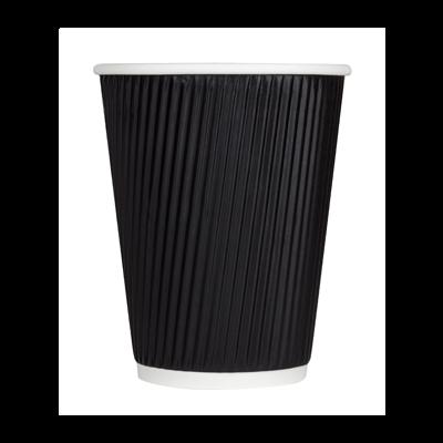 Karat C-KR512B 12 oz Ripple Paper Hot Cup, Black - 500 / Case