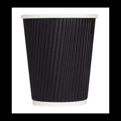 Karat C-KRC508B 8 oz Ripple Paper Hot Cup, Black - 500 / Case