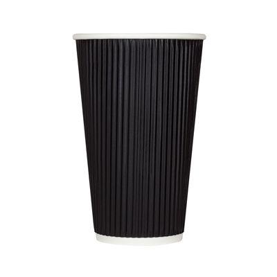 Karat C-KRC516B 16 oz Ripple Paper Hot Cup, Black - 500 / Case