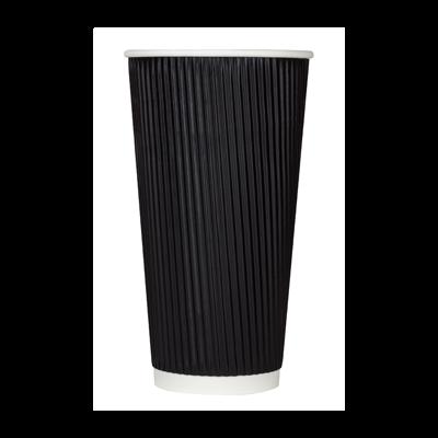 Karat C-KRC520B 20 oz Ripple Paper Hot Cup, Black - 500 / Case