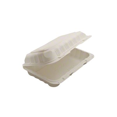 "Kari-Out KT0206 TerraSmart Utility Hinged Lid Plastic Containers, Polypropylene, 9"" x 6"", White - 150 / Case"