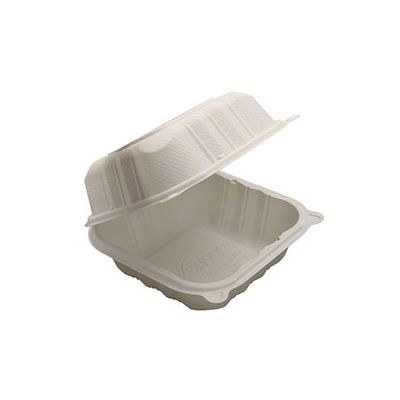 "Kari-Out KT0225W TerraSmart Sandwich Plastic Hinged Lid Container, Polypropylene, 6"" x 6"", White - 250 / Case"