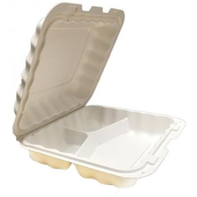 "Kari-Out KT0883W TerraSmart Medium Plastic Hinged Lid Carryout Containers, 3 Compartment, Polypropylene, 8"" x 8"" x 3"", White - 150 / Case"