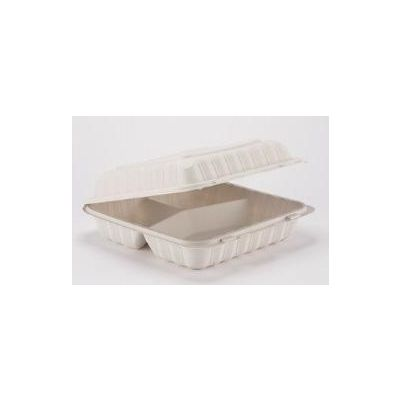 "Kari-Out KT0993W TerraSmart Large Plastic Hinged Lid Containers, 3 Compartment, Polypropylene, 9"" x 9"", White - 150 / Case"