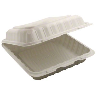 "Kari-Out KT993SW TerraSmart Large Plastic Hinged Lid Carryout Container, Polypropylene, 9"" x 9"", White - 150 / Case"