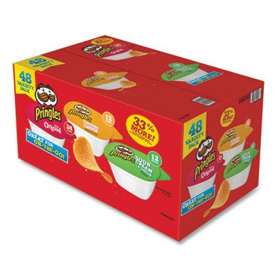 Kellogg's 14991 Pringles Potato Chips, Variety Pack, Original, Cheddar Cheese, Sour Cream & Onion, 0.74 oz Cups - 48 / Case