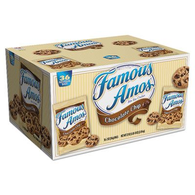 Kellogg's 10003 Famous Amos Chocolate Chip Cookies, 2 oz Snack Pack Bag - 36 / Case