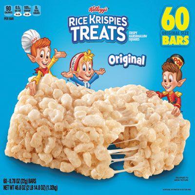 Kellogg's 17120 Rice Krispies Treats, Original Marshmallow, 0.78 oz Pack - 60 / Case