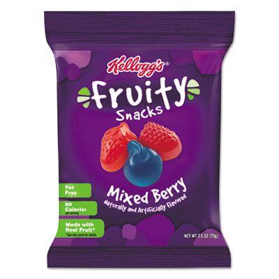 Kellogg's 29665 Fruity Snacks, Mixed Berry, 2.5 oz Bag - 48 / Case
