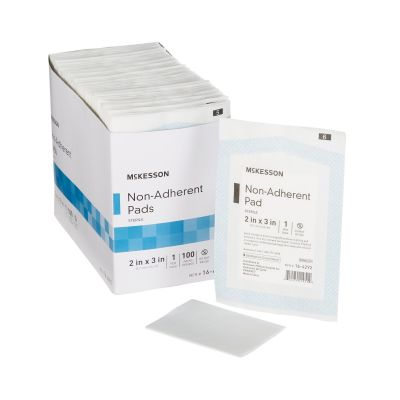 "McKesson 16-4292 Non-Adherent Dressing Pads, Nylon / Polyester, 2"" x 3"", Sterile - 1200 / Case"