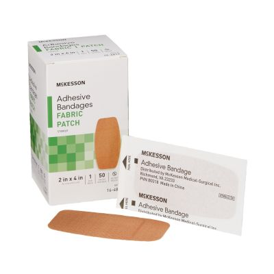 """McKesson 16-4817 Fabric Patch Adhesive Bandages, 2"""" x 4"""" Rectangle, Tan, Sterile - 1200 / Case"""