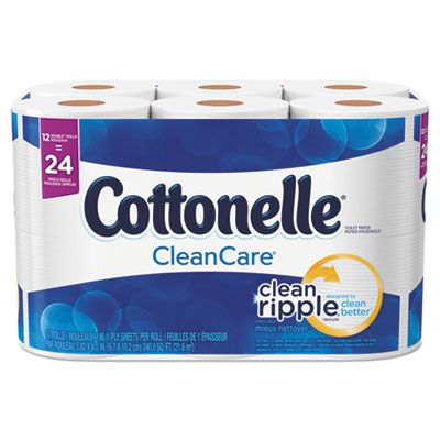 """Kimberly-Clark 12456 Cottonelle CleanCare Toilet Paper, 1 Ply Clean Ripple, 4"""" x 4.2"""", 170 Sheets / Standard Roll, White - 48 / Case"""