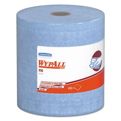 "Kimberly-Clark 12889 WypAll X90 Cloth Wipers, 450 Sheets / Jumbo Roll, 11.1"" x 13.4"", Denim Blue - 1 / Case"