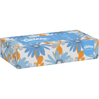 Kimberly-Clark 13216 Kleenex Facial Tissue, 2 Ply, 100 Sheets / Flat Box, White - 60 / Case