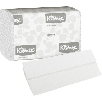 "Kimberly-Clark 1500 Kleenex C-Fold Paper Hand Towels, 10-1/8"" x 13-1/7"", White - 2400 / Case"