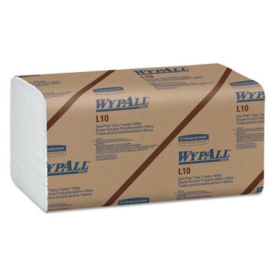 "Kimberly-Clark 1770 WypAll L10 Sani-Prep Dairy Paper Towels, 1 Ply, 10.5"" x 9.3"", White - 2400 / Case"