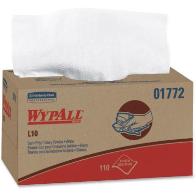 "Kimberly-Clark 1772 WypAll L10 Sani-Prep Dairy Towels,10-1/2"" x 10-1/4"", White - 1980 / Case"